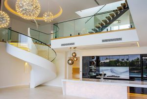 Internal Curved Glass Balustrade