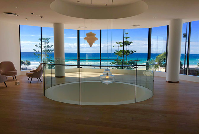 Internal Curved Glass Balustrade