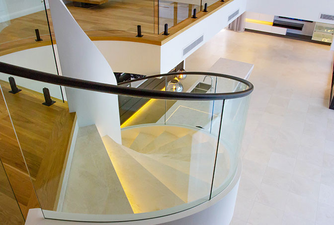 Internal Curved Glass Staircase Balustrade