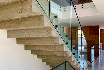 Internal pin fixed glass balustrade