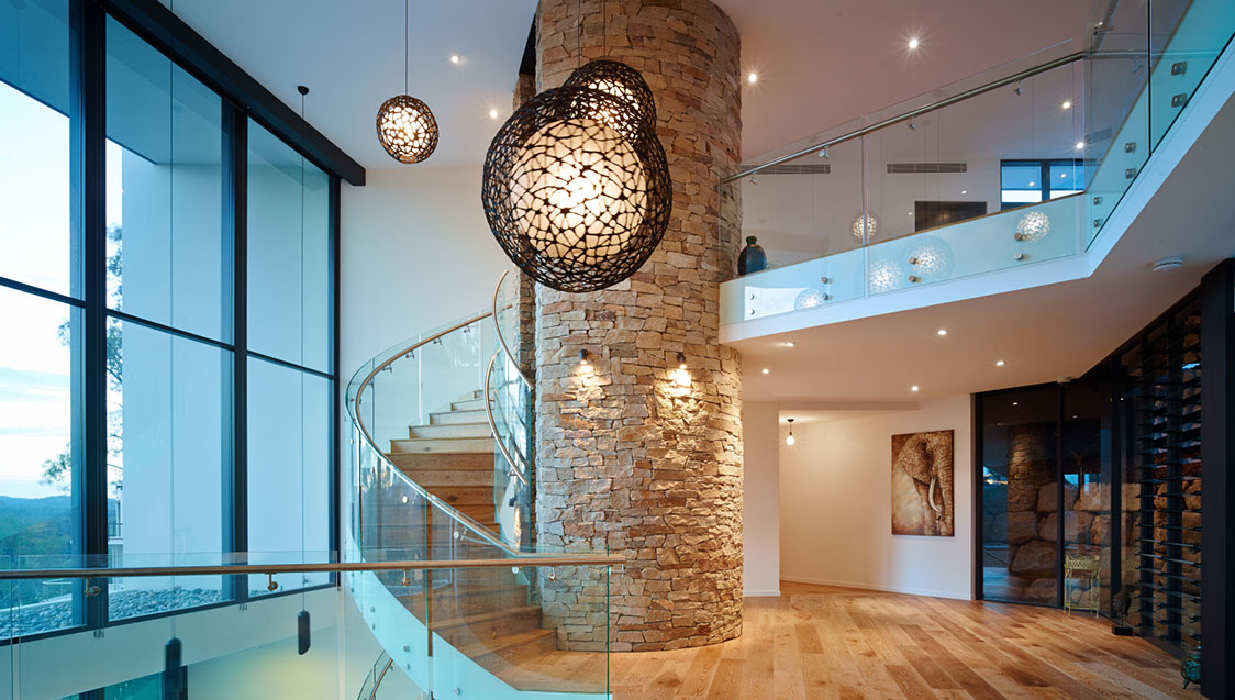 Razor House Internal Curved Glass Balustrade